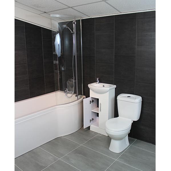 Bathroom Suite P Bath Complete Wc Vanity Unit Shower Kit