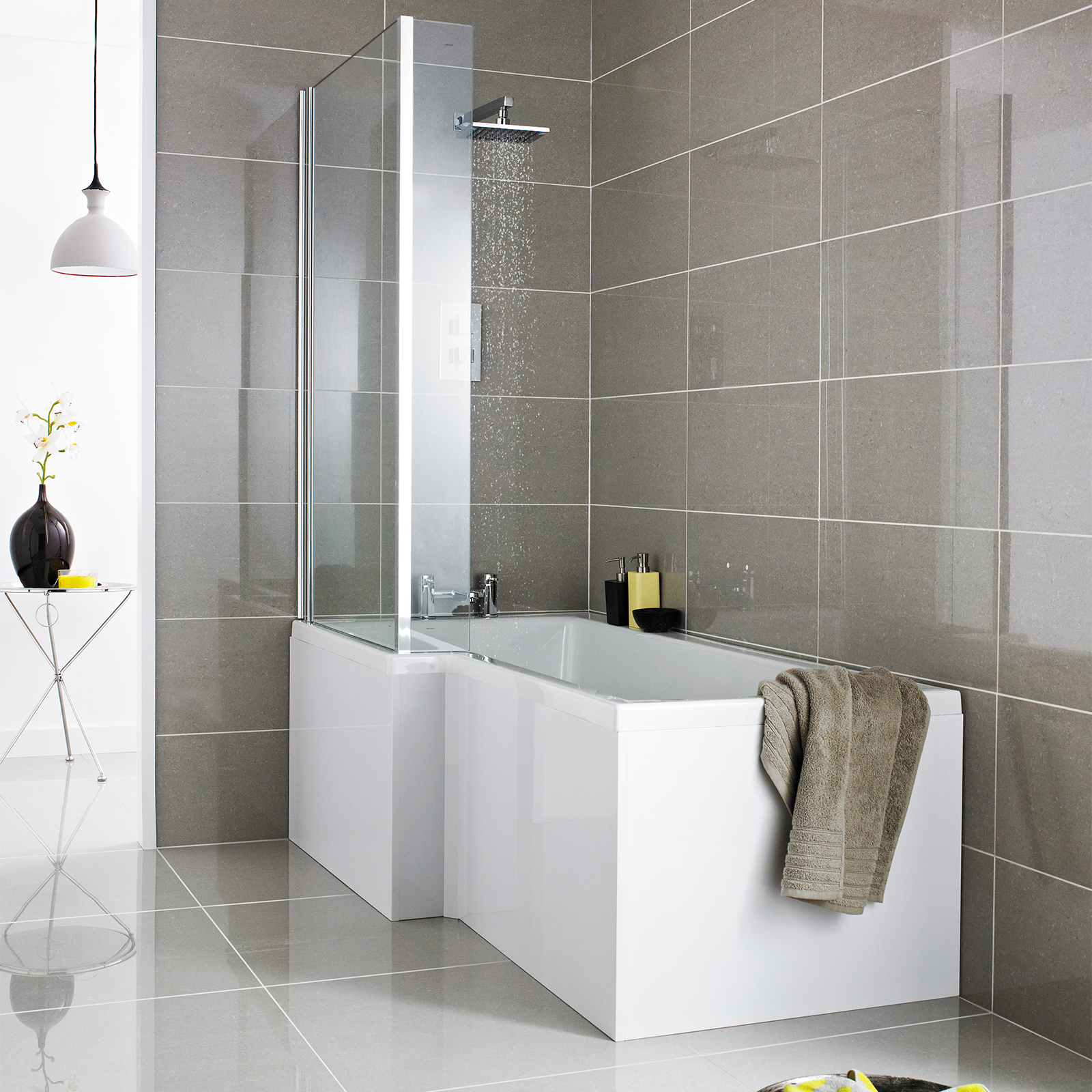 modern l and p bath shape shower with front panel and