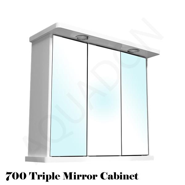 Bathroom Wall Mirror Cabinet White Triple Door 700 Illuminated Shaver Socket Bc Ebay