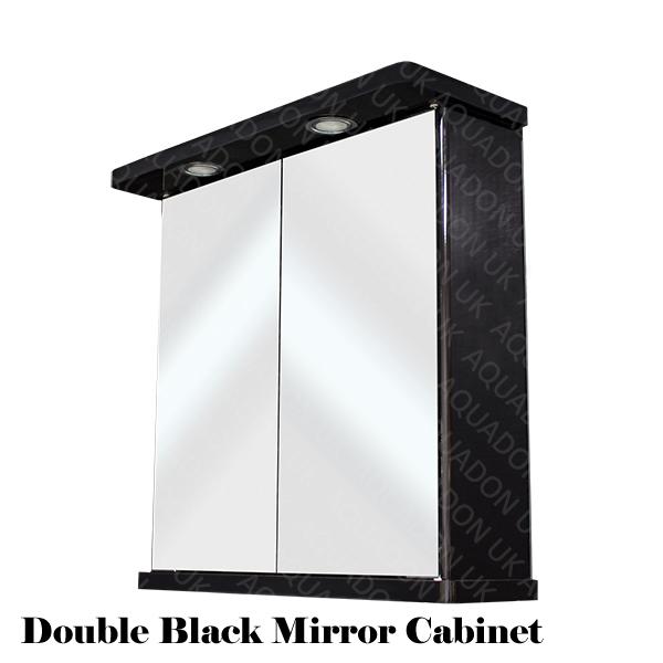 bathroom wall mirror cabinet black double door illuminated