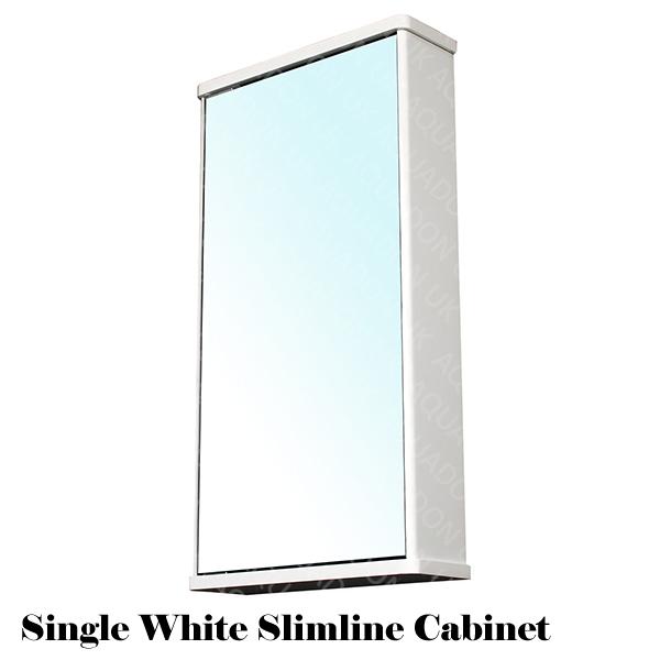 bathroom wall mirror storage cabinet slimline gloss white cloakroom