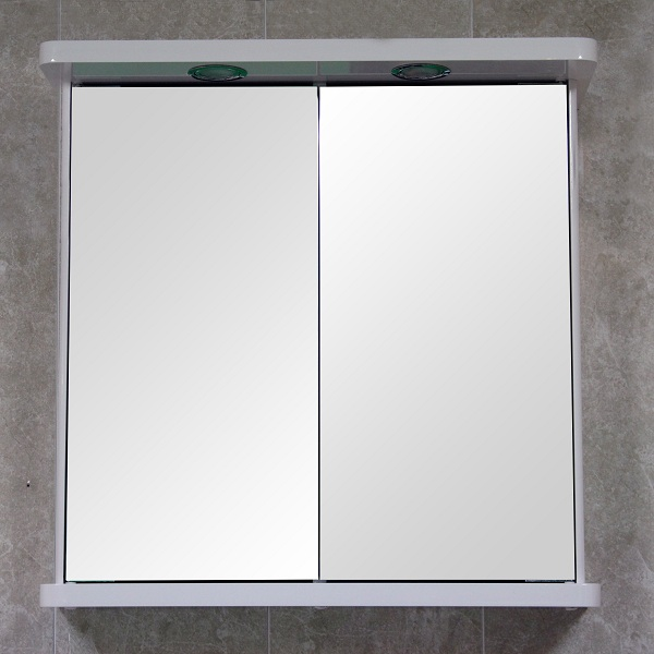 Bathroom Wall Mirror Cabinet White Double Door Illuminated