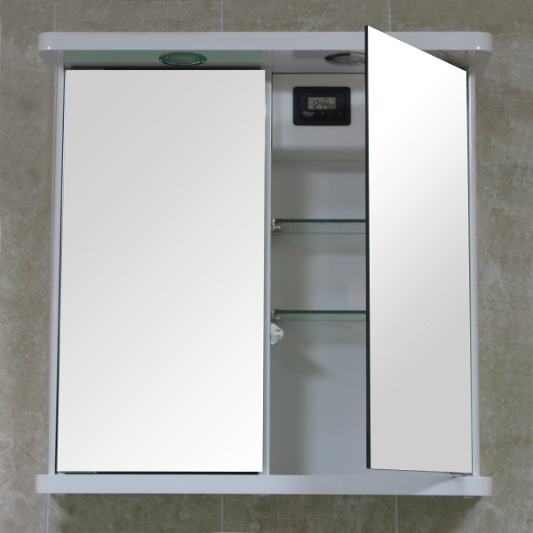 bathroom wall mirror cabinet white double door illuminated shaver