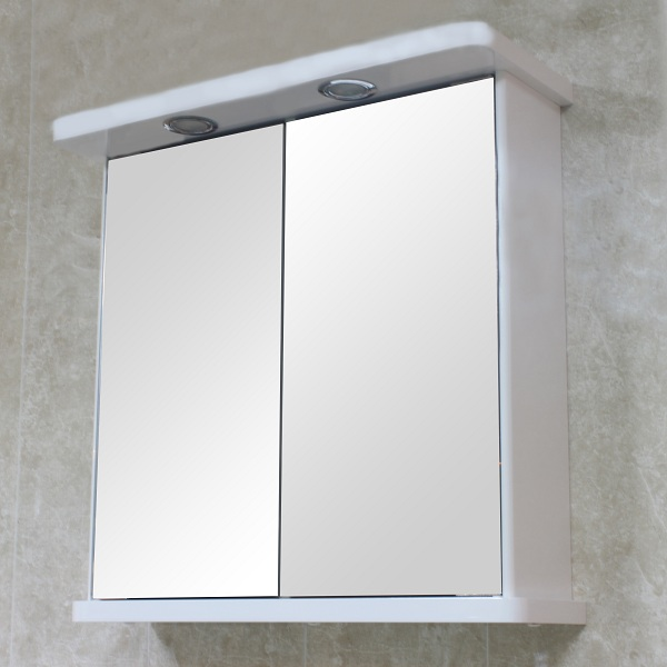 Bathroom Wall Mirror Cabinet White Double Door Illuminated Shaver Socket Bcrowcd