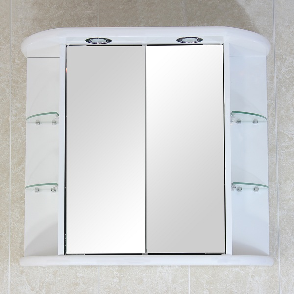 bathroom wall mirror cabinet white d door ext shelves light shaving
