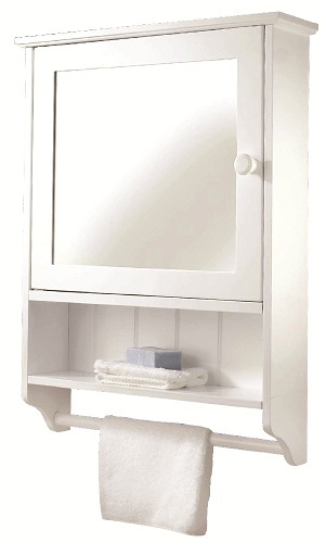 Croydex Hamble White Wood Self Assembly Bathroom Wall Cabinet