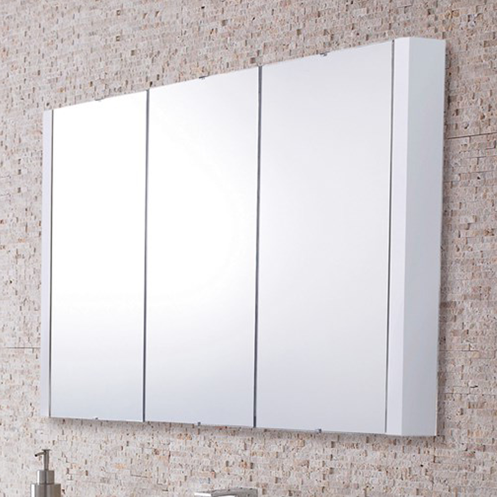 details about lux 900mm gloss white 3 door mirror bathroom cabinet