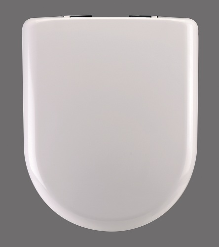 D-Shape Slow-Close Soft-Close Anti-Slam Child-Friendly White Thermoplastic Toilet Seat Closed