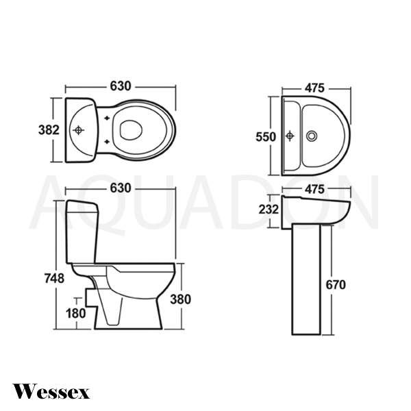 Wessex Toilet Pedestal And Basin Line Drawing