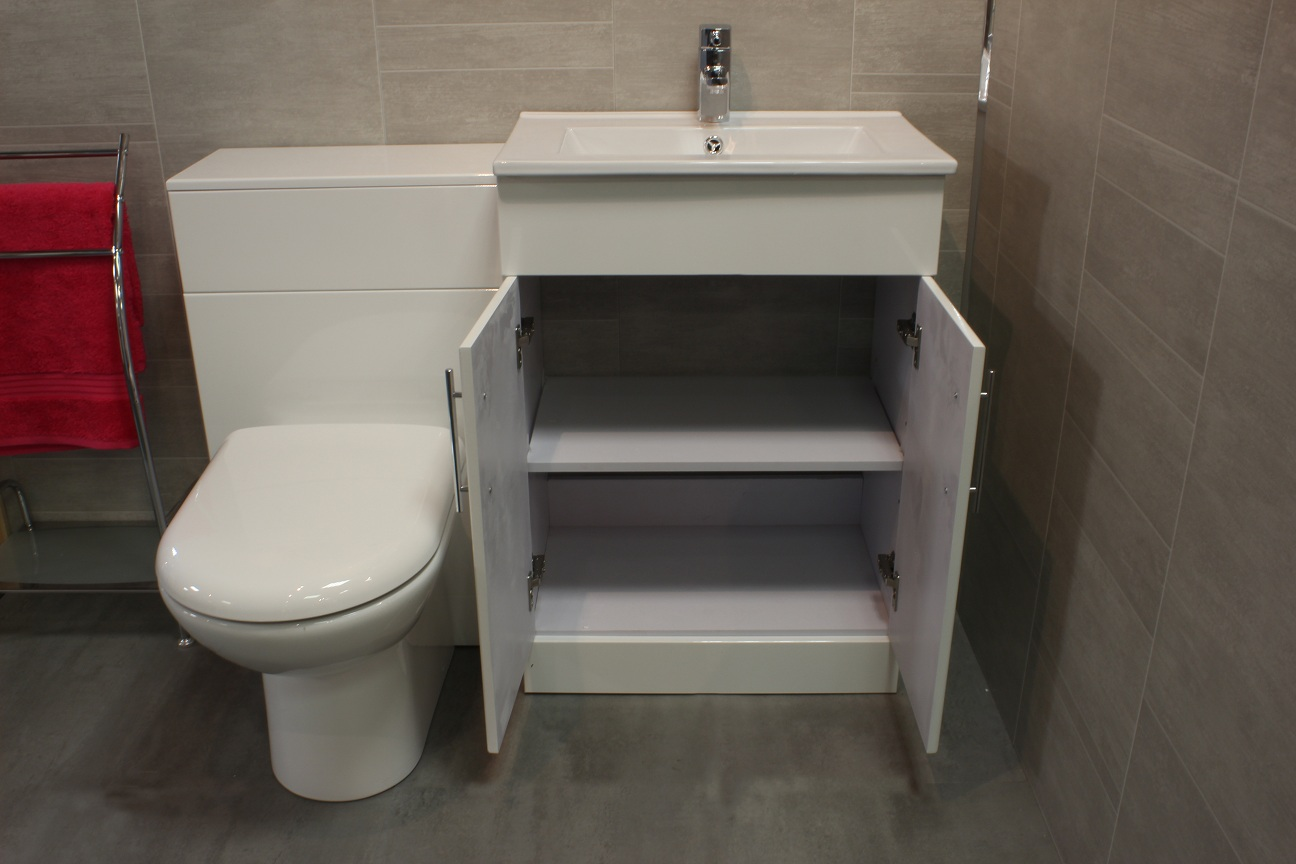 600mm minimalist vanity unit white gloss btw unit and pan - Combination bathroom vanity units ...