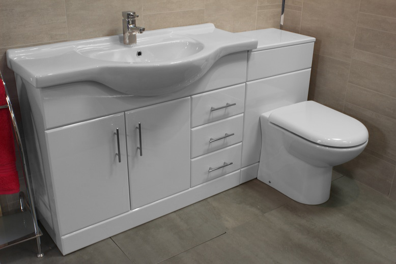 Luxury 1050 bathroom vanity unit btw back to wall wc - Combination bathroom vanity units ...
