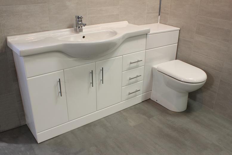 Luxury 1200 bathroom vanity unit btw back to wall wc for Small baths 1200