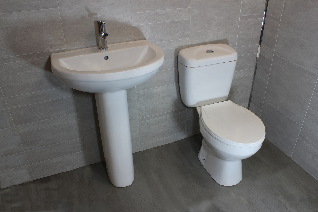 Bathroom Sink Toilet Combo : Piece Suite WC Toilet Cistern Basin Pedistal Tap Opt eBay