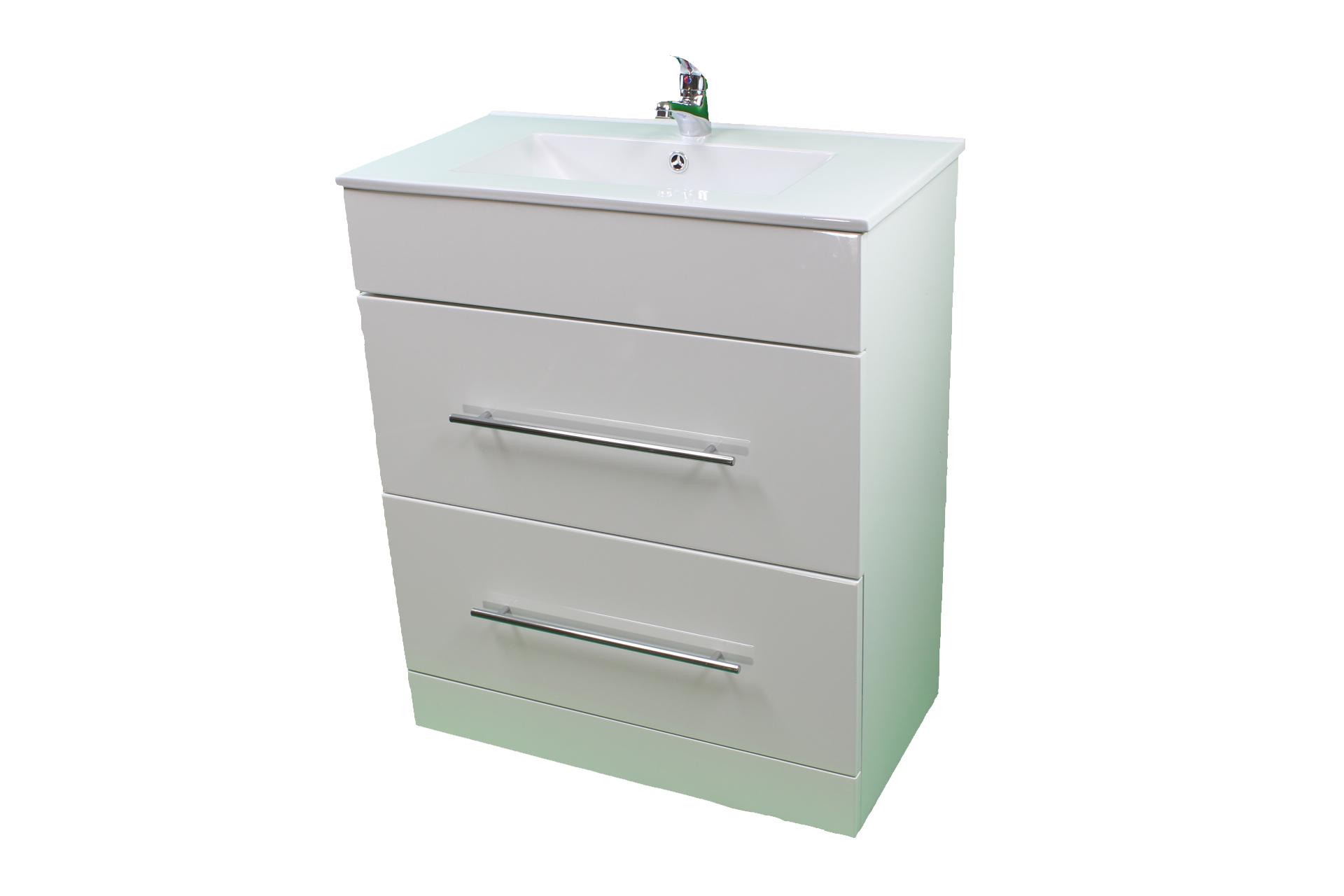 Bathroom Cloakroom 700 White Sink Vanity Unit 2 Drawer ...