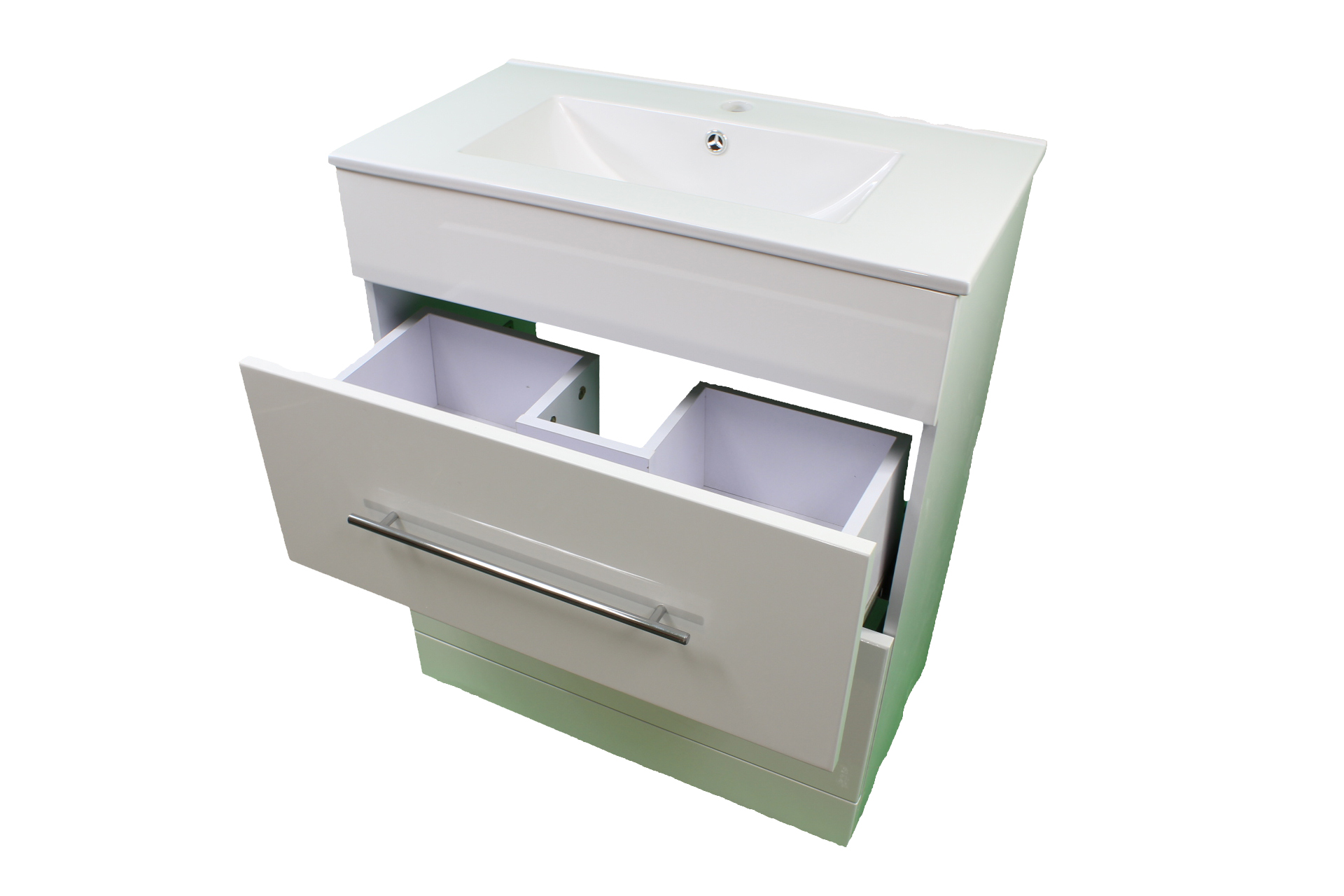 bathroom cloakroom 700 white sink vanity unit 2 drawer