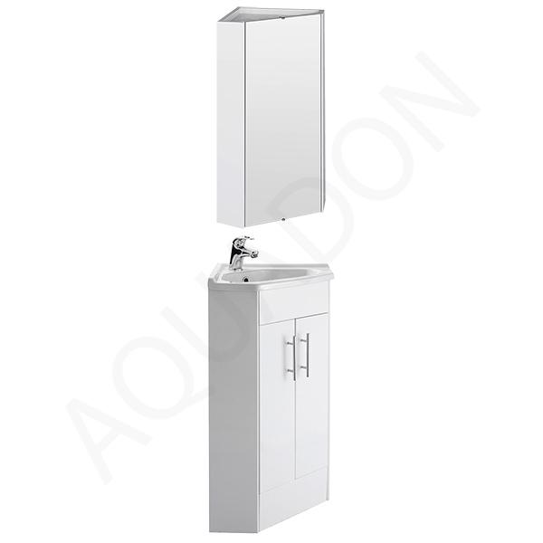 bathroom corner vanity unit corner mirror cabinet gloss white