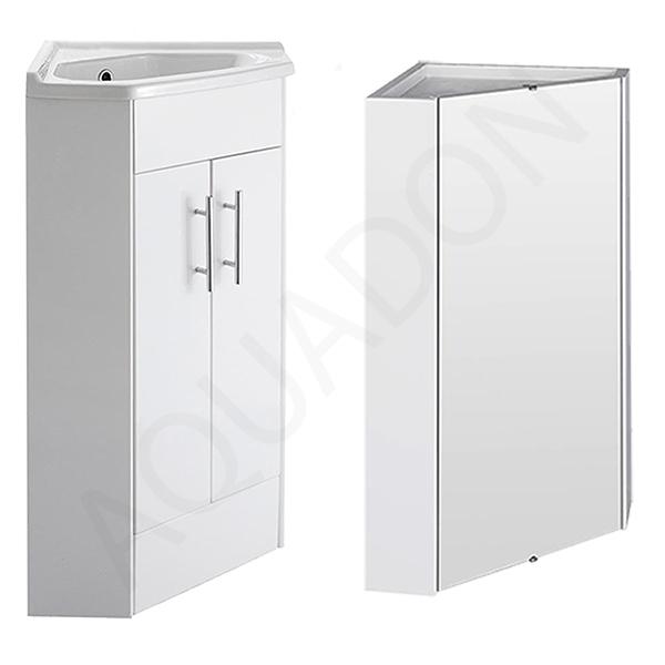 Bathroom Corner Vanity Unit - Corner Mirror Cabinet - Gloss White