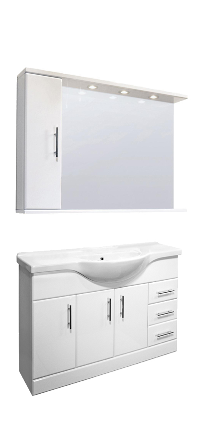 Combination Vanity Units For Small Bathrooms: Bathroom Vanity Unit Illuminated Mirror Wall Cabinet Tap