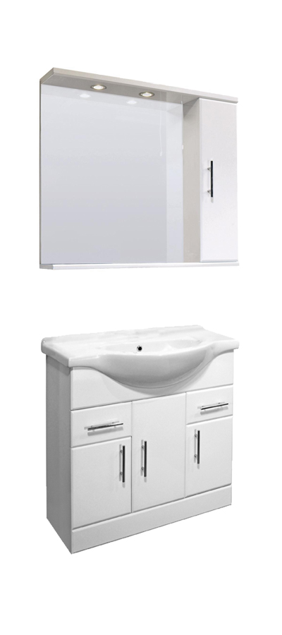 Vanity Unit Lights : Bathroom Vanity Unit Illuminated Mirror Wall Cabinet Tap Opt Cloakroom Furniture