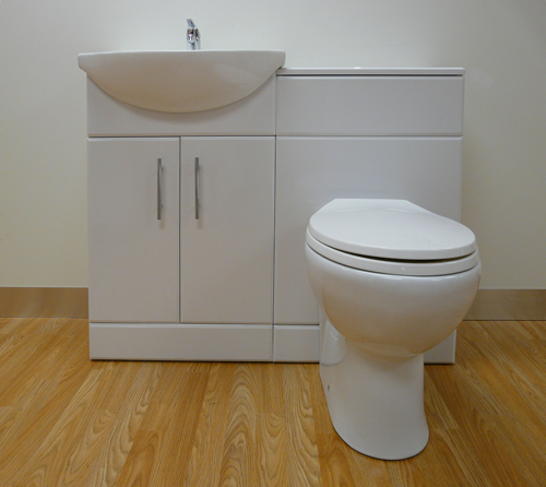 Bathroom vanity units uk basin amp sink cabinets double - 550mm White Gloss Vanity Unit Basin Amp Wc Toilet Tap Ebay