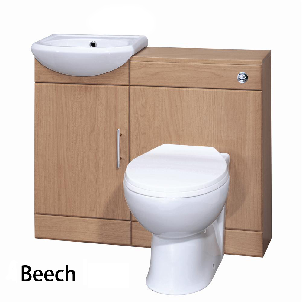 Ikon Sienna Gloss Beech Wood Vanity Unit with Basin and Mixer. 400 Sienna Bathroom Cloakroom Vanity Unit   BTW Unit   Toilet Pan