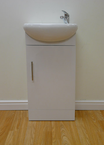 Ikon Sienna Gloss White Wood Vanity Unit with Basin and Mixer Tap1