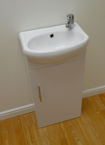 Ikon Sienna Gloss White Wood Vanity Unit with Basin and Mixer Tap2