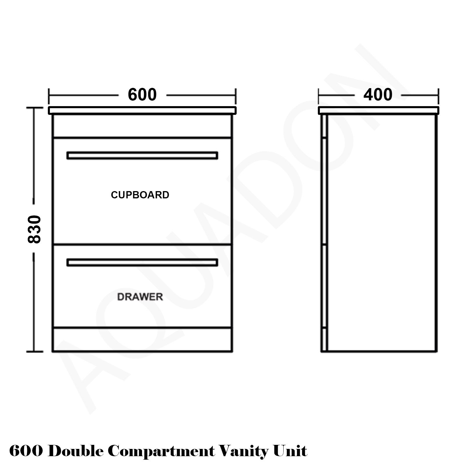 Minimalist gloss white vanity unit 600 800 or 1000mm -  600 Turin Vanity Single Drawer Line Drawing 800